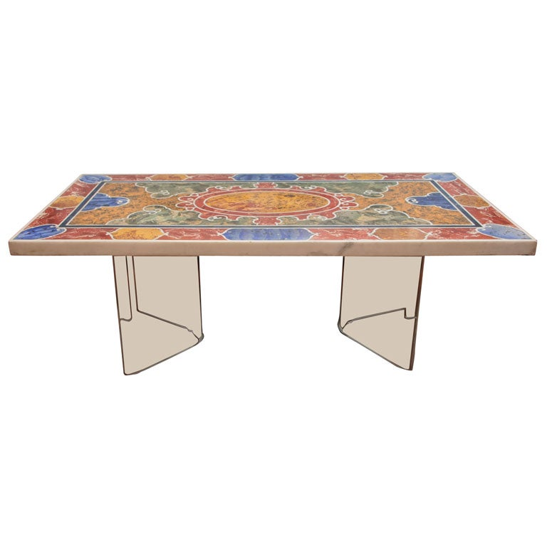 Nail Marble Top Coffee Table: An Inlaid Marble And Scagliola Table Top At 1stdibs