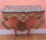 Carved and gilded wood and marble console table image 2