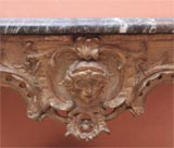 Carved and gilded wood and marble console table image 3