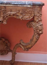 Carved and gilded wood and marble console table image 4