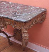 Carved and gilded wood and marble console table image 5