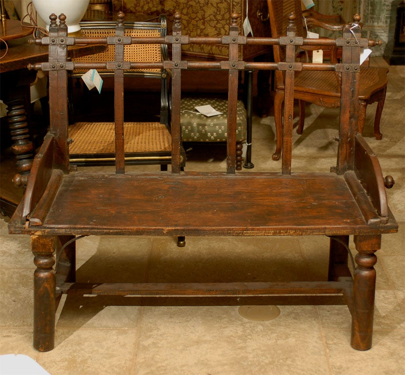 19thc wooden bench probably moroccan at 1stdibs Moroccan bench