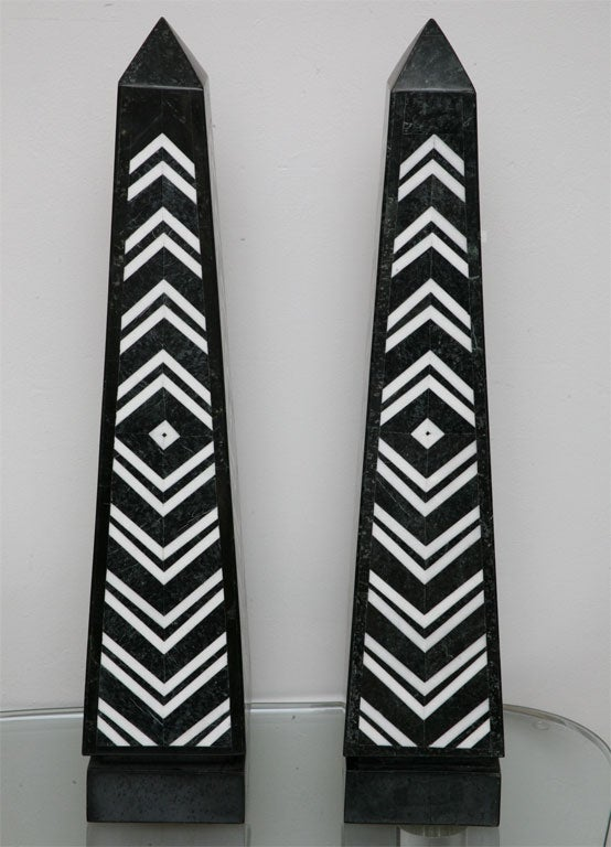 We may be biased, but these giant table-top obelisks by Maitland Smith are must-haves! Eye-poppingly graphic chevron-patterned black and white marble inlays on all four sides.