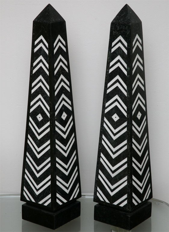 American Massive Pair of Marble Obelisks by Maitland Smith For Sale