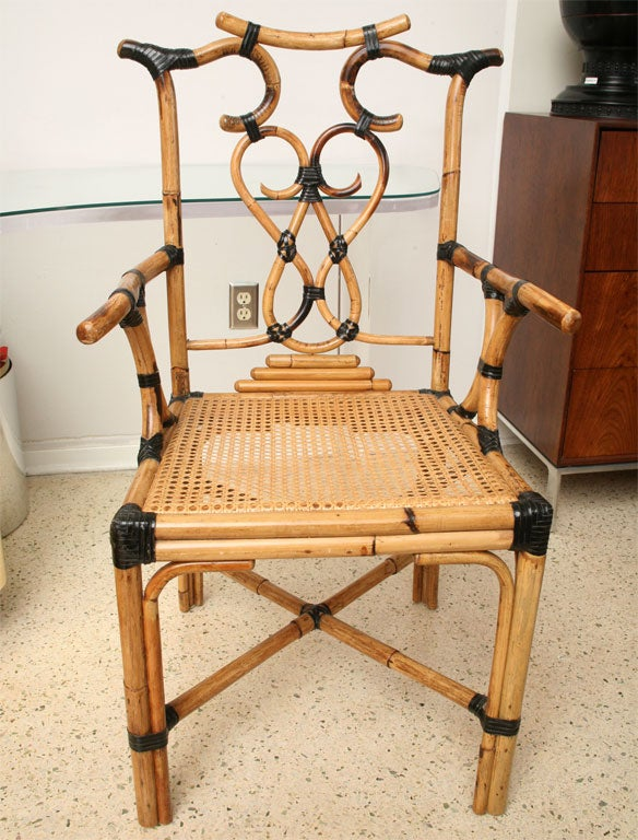 Pair Of Maitland Smith Bamboo And Rattan Chairs At 1stdibs