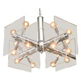 70's Chrome and Lucite Chandelier