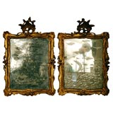 Pair of Venetian Etched Mirrors