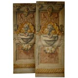 Pair of painted linen panels