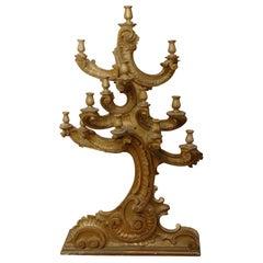 Large Gold Gilded Wooden Candelabra