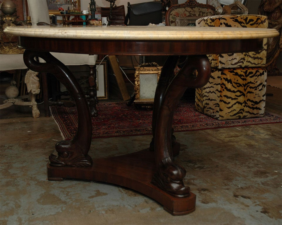 19th century dolphin base center table for sale at 1stdibs for Cuir center table basse