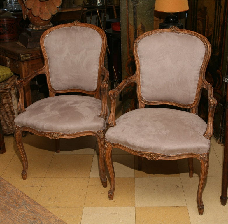 pair of louis xv style fauteuil at 1stdibs