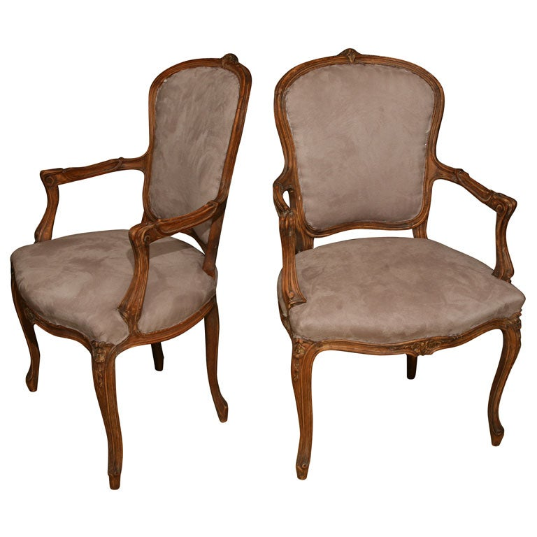 Pair of Louis XV Style fauteuil 1