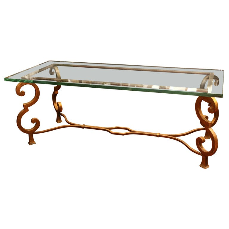 Glass top coffee table on gilded steel metal base at 1stdibs Metal glass top coffee table