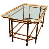 Brass Rimmed Glass Tray with Faux Bamboo Coffee Table