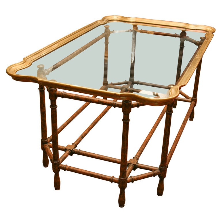 Brass Rimmed Glass Tray With Faux Bamboo Coffee Table At 1stdibs