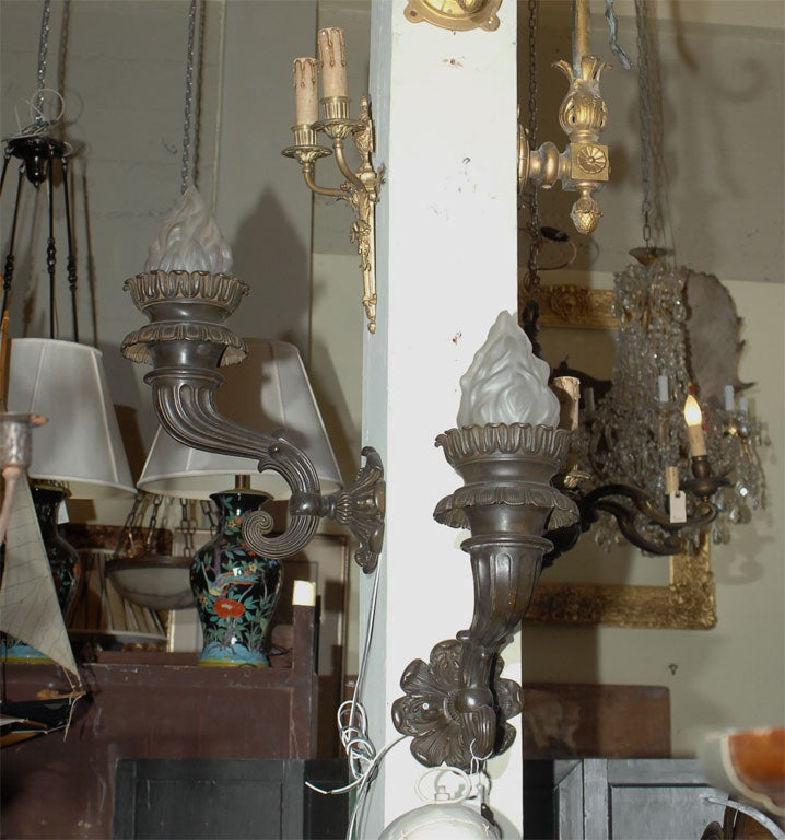 European Pair of 19th Century Bronze Sconces For Sale