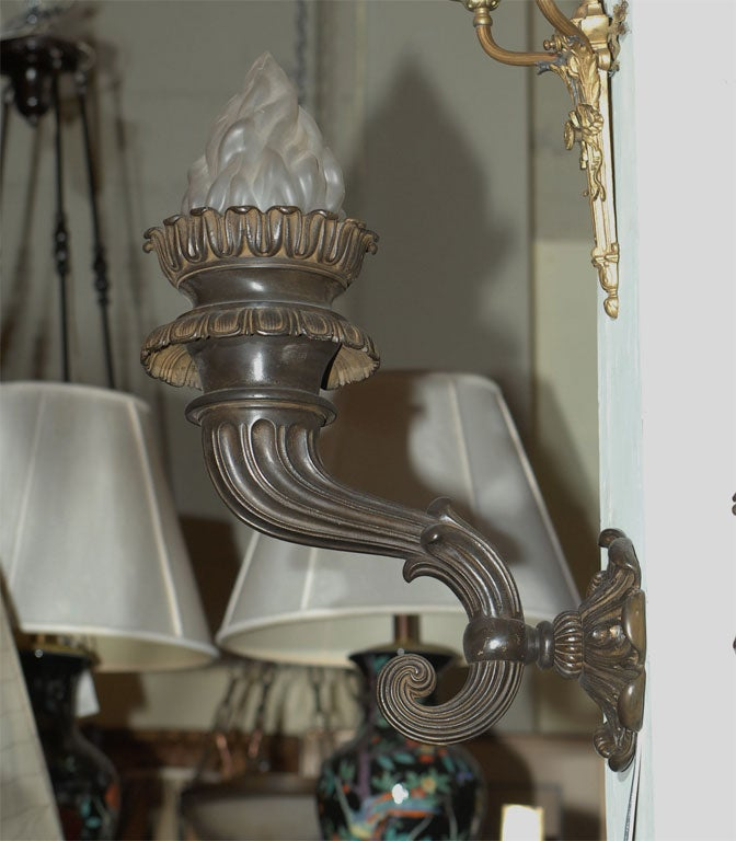 Pair of 19th Century Bronze Sconces In Excellent Condition For Sale In San Francisco, CA