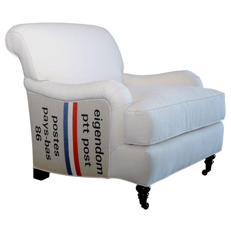 English Arm Club Chair With Vintage Postal Bags At 1stdibs
