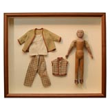 Carved Wooden Doll in Shadow Box