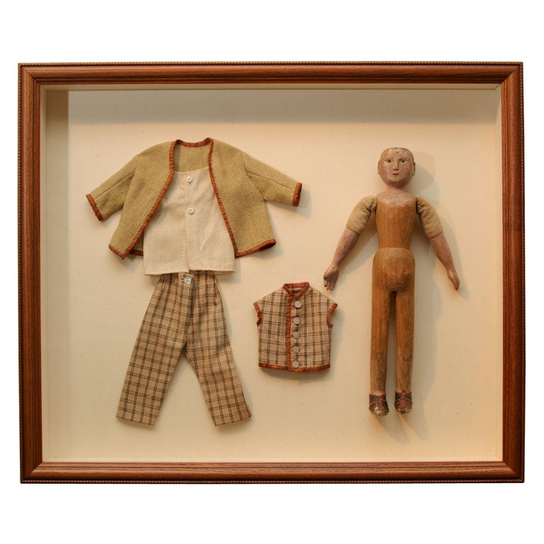 Carved Wooden Doll in Shadow Box For Sale