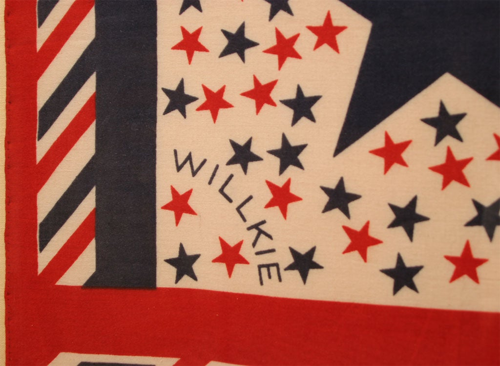 Cotton Political Bandanna Wendell Wilkie For Sale