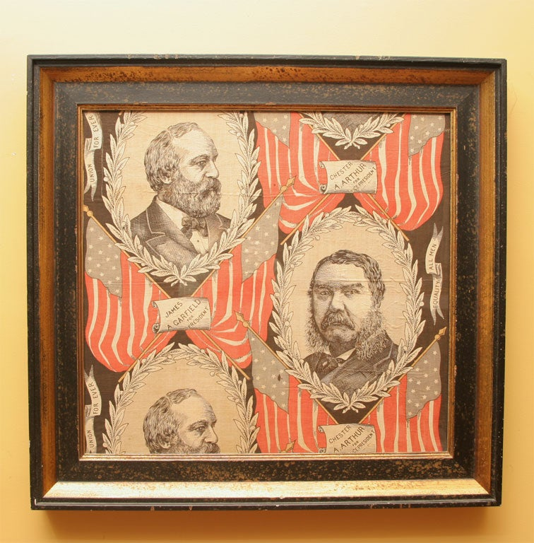 Jugate portrait, beautifully graphic political textile, from the 1880 campaign of James Garfield and Chester Arthur, both of whom became president of the United States.  Legend: