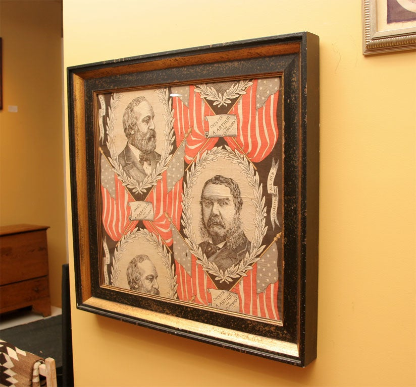 American Political Textile.  James Garfield and Chester Arthur. For Sale