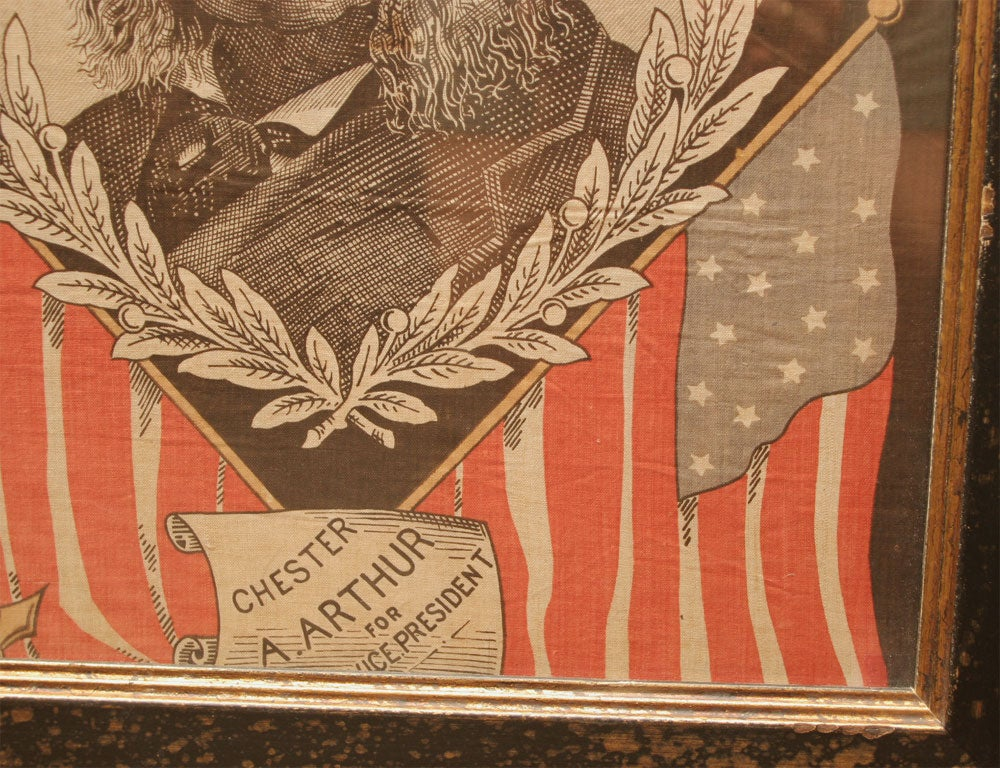 Cotton Political Textile.  James Garfield and Chester Arthur. For Sale