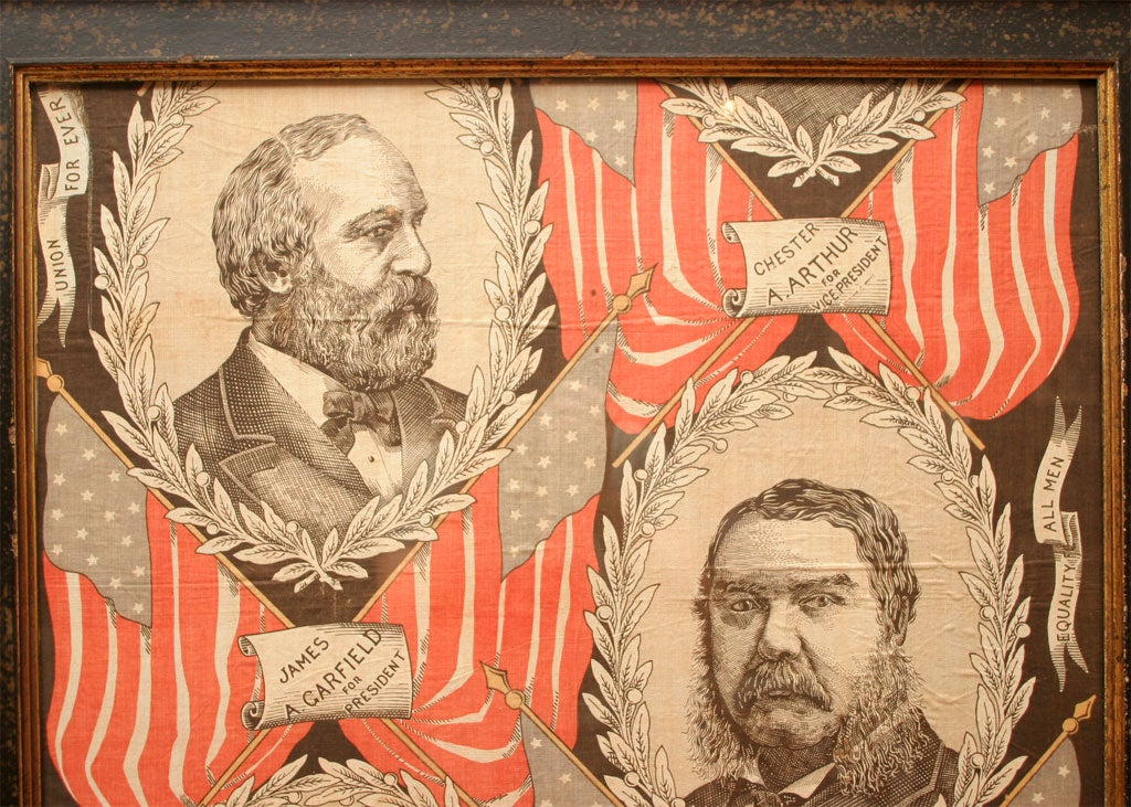 Political Textile.  James Garfield and Chester Arthur. For Sale 1