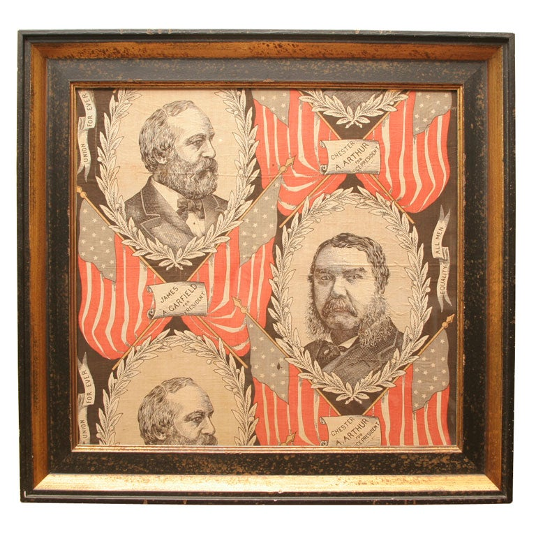 Political Textile.  James Garfield and Chester Arthur. For Sale
