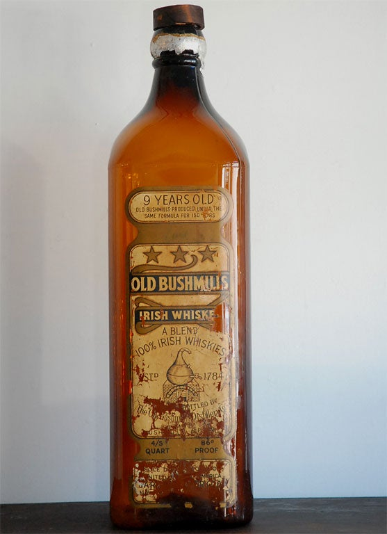 19th C Old Bushmills Irish Whiskey Trade Sign Bottle At