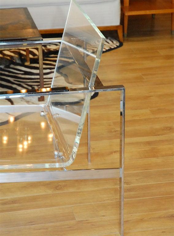 Chrome and Lucite Club Chair 1