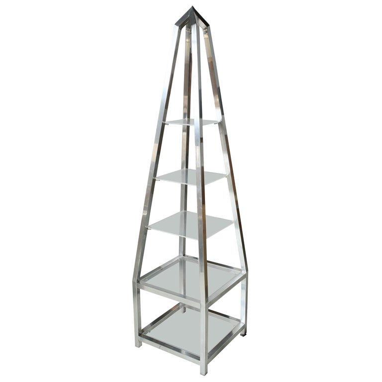 Pair Aluminum Obelisk Etagere