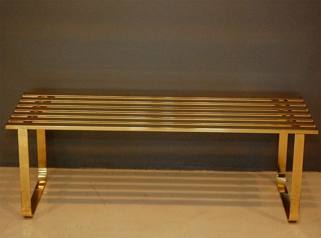 Brass Slat Bench At 1stdibs