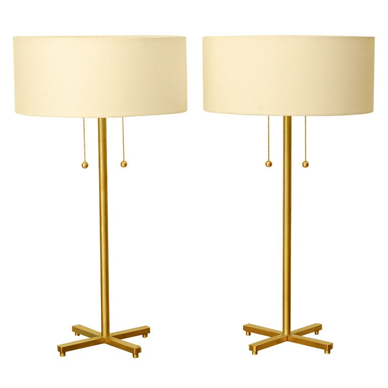 Pair Of Brass Table Lamps 1
