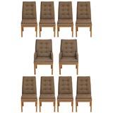 Set Of 10 Glenn Of CA Dining Chairs With Walnut & Ebony Bases