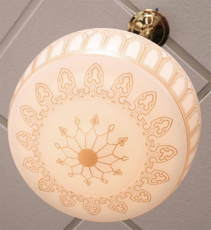 Art Nouveau Pendant, Restored Intricate Design Hand-Painted with Contrast 10