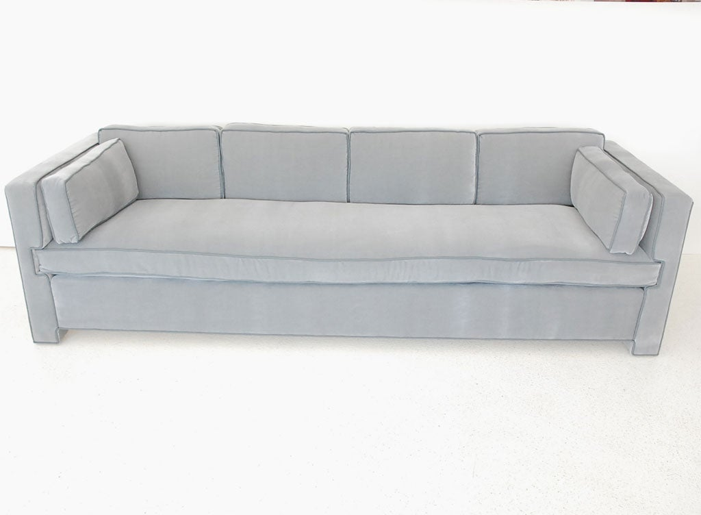 Handsome Tailored Single Cushion Sofa In Mohair And