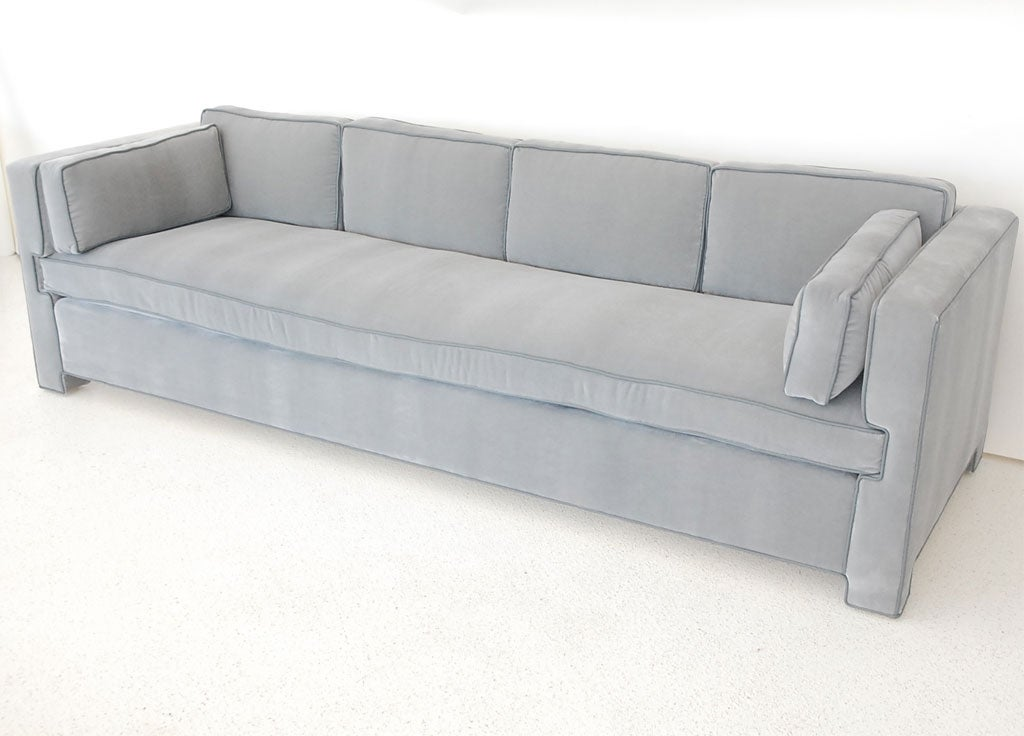 Handsome Tailored Single Cushion Sofa In Mohair And Leather At 1stdibs