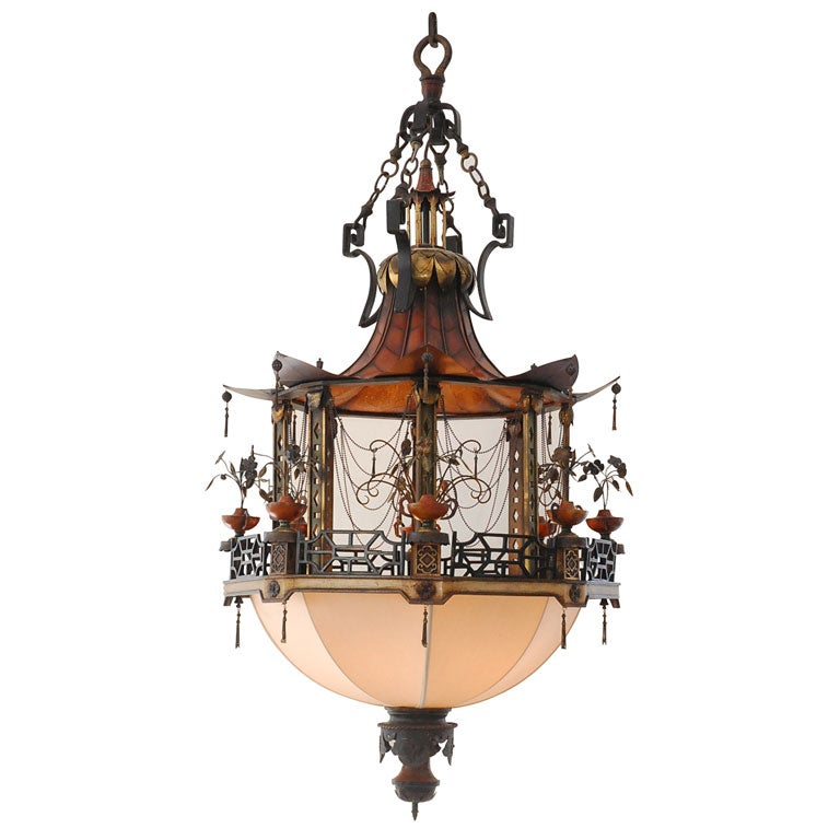Unique Chinese Pagoda Chandelier In Brass Iron And Tole