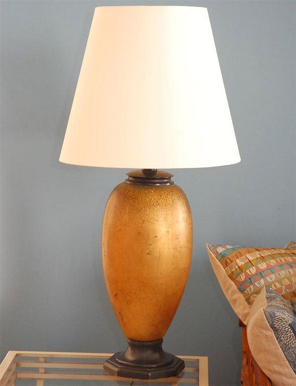 Pair Vintage Gold Leaf Ceramic Lamps With Custom Silk