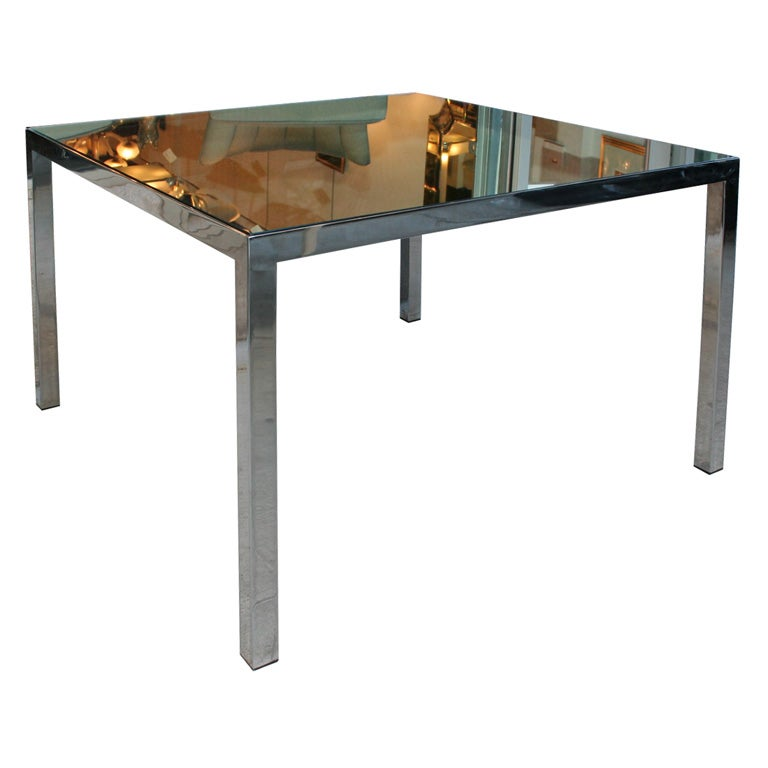 Mid Century Modern Square Dining Table w/ Rectangular Chrome Legs and Mirrored Top For Sale at 1stdibs  sc 1 st  1stDibs & Mid Century Modern Square Dining Table w/ Rectangular Chrome Legs ...