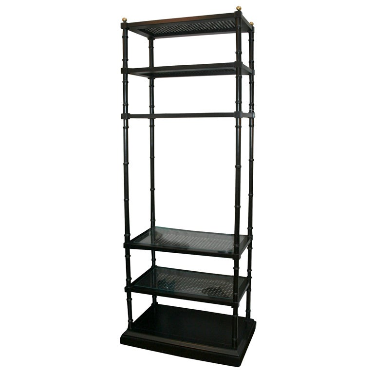 Pair of black lacquered faux bamboo etageres at 1stdibs - Etagere cases carrees ...