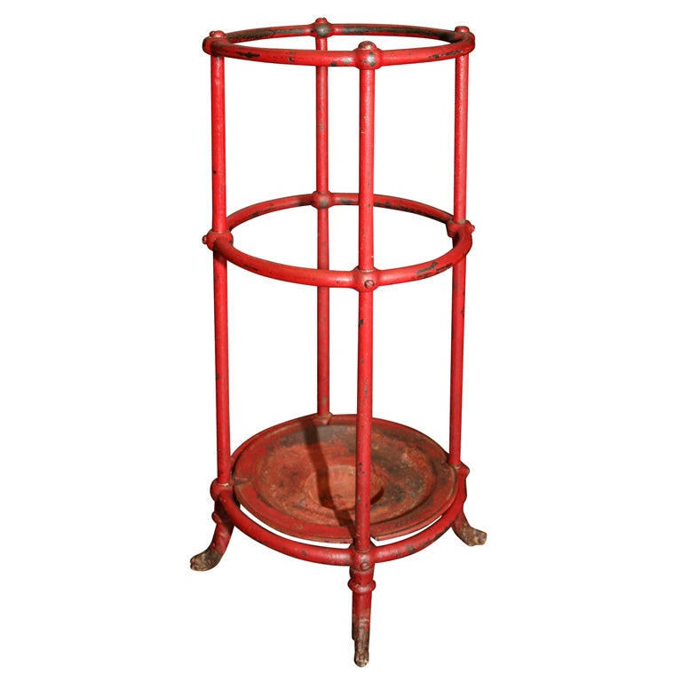 Red Painted Cast Iron Umbrella Stand At 1stdibs