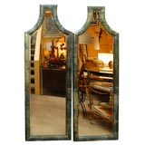 Pair Of Green Parchment Mirrors