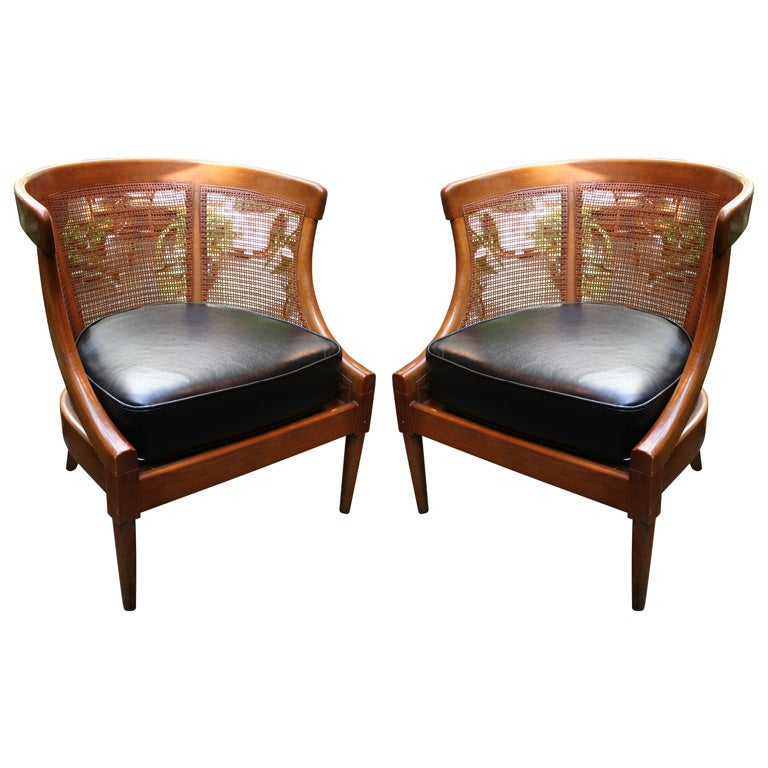 Petite Pair Of Caned Club Chairs At 1stdibs