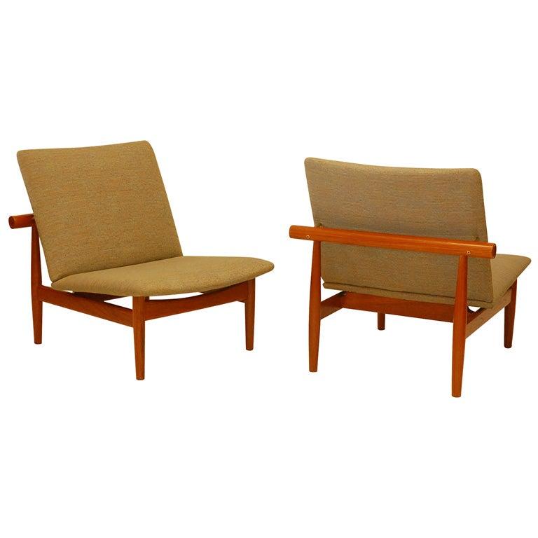 Finn Juhl for France & Son slipper chairs, 1950s, offered by Denmark 50