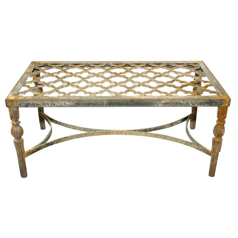 Cast iron quatrefoil coffee table at 1stdibs for Coffee table with cast iron legs