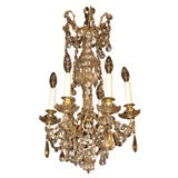 Antique French crystal and bronze 6-light chandelier