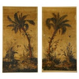 8210 PAIR OF 19TH C WALLPAPER PANELS MOUNTED ON CANVAS
